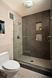 modern master bathroom with recessed shower niche by yana mlynash