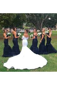 navy bridesmaid dresses shop discount beautiful navy blue tulle trumpet mermaid straps