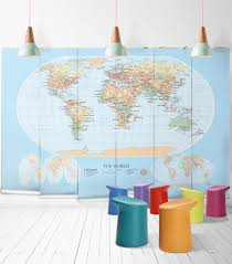 modern world map wallpaper mural milton king world map modern wall mural from muffin mani