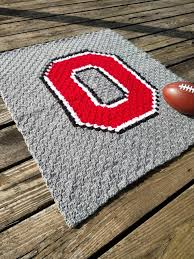 Ohio State Home Decor Ohio State Crochet Chevron Blanket With Crocheted Block O