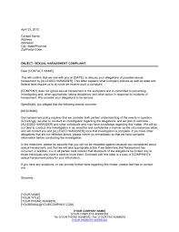 letter to sexual harassment complainant template u0026 sample form