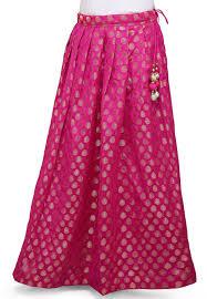 silk skirt woven chanderi silk skirt in fuchsia bnj299