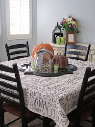 a thankful tablecloth blue cricket design