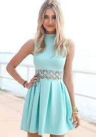 light blue sleeveless dress light blue plain lace hollow out band collar sleeveless dress lace