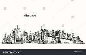 new york city skyline vector vintage stock vector 284359175
