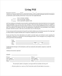 sample living will template sample living will and power of