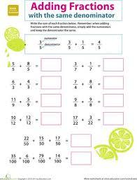 3rd grade math fractions worksheets worksheets