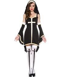 nun costume women cosplay dress with black hood for
