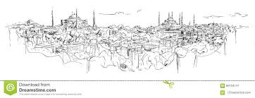 sketch hand drawing panoramic istanbul silhouette stock vector