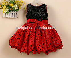 desain baju gaun anak hitam gelombang titik desain baru anak princess dresses sequin gaun