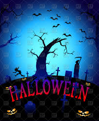 scary graveyard at halloween night background vector image 72868