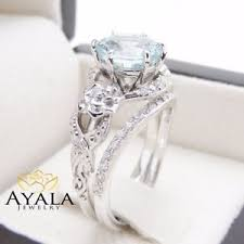 aquamarine and diamond ring unique aquamarine engagement ring set 14k white gold 2 carat