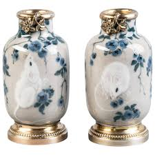 pair of silver mounted french porcelain vases limoges circa 1920