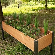 elevated outdoor raised garden bed planter box 70 x 24 x 29 inch