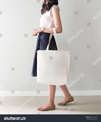 Bag Design Holding Blank Canvas Tote Bag Stock Photo 599335607