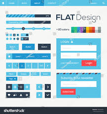 flat web mobile design elements buttons stock vector 144582668