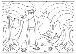 Moses Parting The Red Sea Colouring Page Bible Coloring Pages Moses