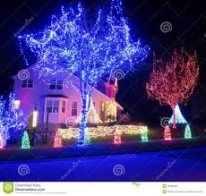 Homes Decorated For Christmas Blue Christmas Lights Stock Photos Images U0026 Pictures 26 984 Images