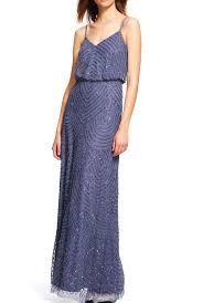 adrianna papell heather gray art deco beaded blouson gown dress