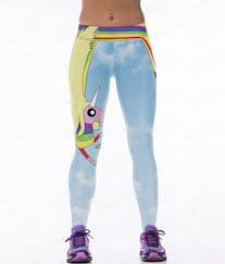 Light Blue Tights Sky Blue Yoga Pants Unicorn Rainbow Printing Female Sport Light