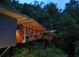 wonderful modern forest house design with solid building elements