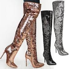 s knee boots on sale womens sparkle sequin metallic the knee boots