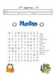 english teaching worksheets numbers wordsearch