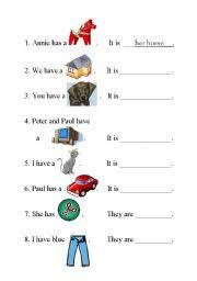 possessive adjectives worksheet by romana svatonova