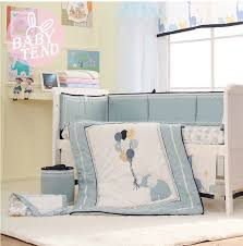 Baby Crib Bed Skirt 8 Pcs High End Blue Embroidery Elephant Baby Crib Bedding Set Bed