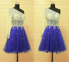 royal blue tulle a line one shoulder royal blue tulle beaded prom dress with