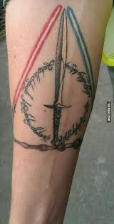 awesome tattoo combining star wars lord of the rings and harry