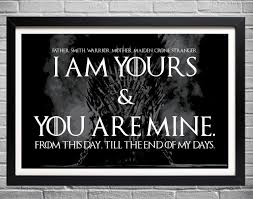 game of thrones wedding vows i am yours and you are mine
