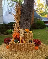 Fall decor corn stalk Indian corn pumpkins gourds mums hay