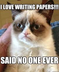 Memes About Writing Papers - i love writing papers said no one ever grumpy cat quickmeme