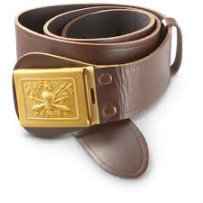 new italian military surplus leather dress belt brown 307469