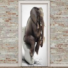 Bathroom Door Stickers Gray 38 5 200cm 2pcs Elephant Bathroom Decoration Environmental