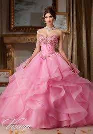 quinceanera pink dresses flounced organza quinceañera dress style 89107 morilee