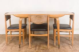 vintage retro 1950s light oak dining table and 4 chairs by links