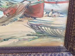 vintage oil canvas painting sailboat nautical scene impressionist