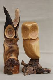 wood carvings pair of owls vintage rustic modern abstract wood carvings