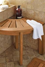 our teak corner shower seat with basket provides comfort and