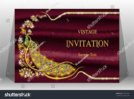 Exclusive Wedding Invitation Cards Luxury Wedding Invitation Card Gold Peacock Stock Vector 677521393