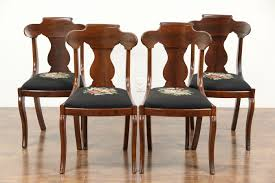 dining room kitchen harp gallery antique furniture set of 4 empire 1830 s antique dining or game table chairs needlepoint