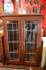 China Cabinets With Glass Doors Mahogany 2 Door Bookcase China Cabinet With By Oakparkantiques