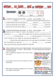 Connectives And Conjunctions Worksheets Both Either Neither Worksheet Free Esl Printable Worksheets