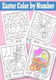 easter color by numbers worksheets itsy bitsy fun