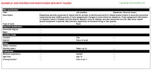 dispatcher security guard job posting sample