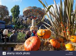 halloween pumpkin installation in the crowded tivoli gardens stock