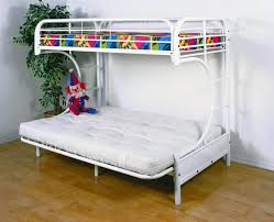 Bunk Beds  White Metal Bunk Bed With Futon White Metal Bunk Beds - Metal bunk bed futon combo