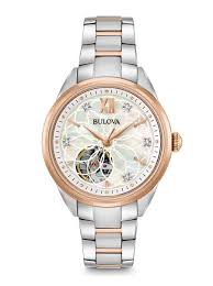 bulova ladies diamond bracelet watches images Women 39 s diamond rose gold automatic classic watch bulova bulova jpg